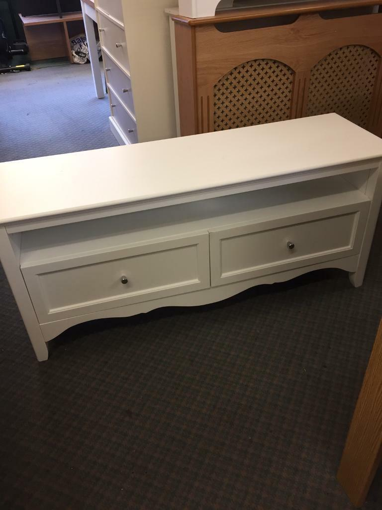 Romantic large 2 drawer tv unit -White