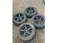 17 inch 4 stud multi fit alloy wheels good tyres