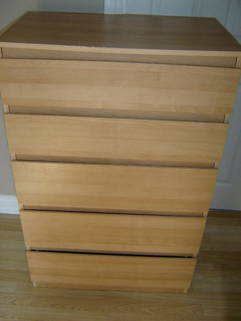 ikea kullen 5 drawer unit set of drawers light oak spares repairs
