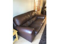 Polo Divani 3 Piece Suite Brown Italian Leather Sofa, 2 Chairs and Foot Stool - Excellent Condition