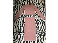Crop Top And Skirt Dusty Pink One Size