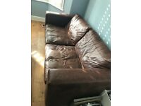 Sofa, leather, brown, pull out bed sofa workshop