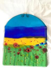 Fused glass hanging panel