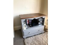 Grey shabby chic tv unit with drawer