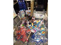mixed joblob lot, car radiator, cosmetics, clamps. battery box, car mats