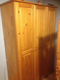 3 Door pine wardrobe and matching dressing table