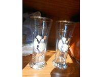 Can-Can Dancer Design Tall Drinking Glasses With Gold Detail