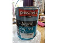 Johnstones vinyl soft sheen paint. mixed to Farrow and Ball St Giles Blue.