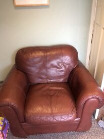 Brown faux leather chair- FREE