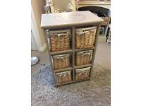 6 drawer shabby chic wicker storage drawers