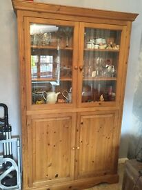Large glazed pine unit and matching bookcase, all locally handmade in Enderby. Bargain price.