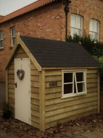 POSH SHED Luxury Garden Potting Shed Tanalised Ply-Lined Shingle Tiled Roof 8X6