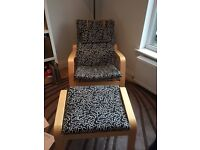 Ikea poang rocking chair and stool