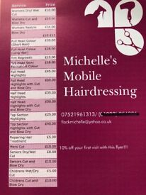 Mobile hairdresser in the Cambridgeshire area.