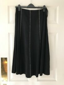 Long black linen skirt with white stitching detail size 8