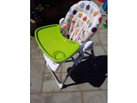 Mamas and Papas Pesto Deluxe Folding Tilting Highchair Baby Toddler Feeding