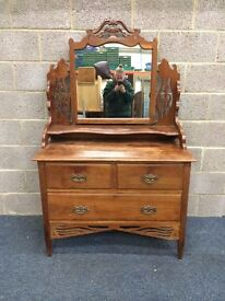 Stunning Vintage Solid Wood Ornate Dressing Table With Mirror and Three Drawers