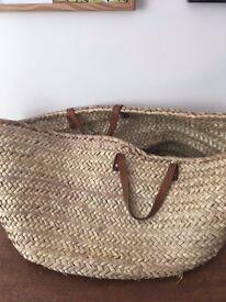 Vintage Wicker Storage Basket Bag