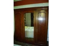 Edwardian Wardrobe with full length mirror, hanging & shelves & drawers