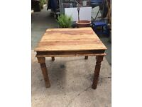 Solid Oak Table Wooden Dining Farmhouse Turned Legs Decorative Metal Corners