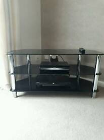 TV Cabinet Black Glass and Chrome