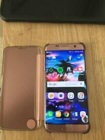Samsung S7 edge rosegold and. Official clear view case