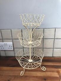 Lovely Metal Tiered Fruit Stand