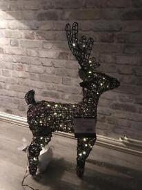 Outdoor Rattan Effect Light Up Reindeer. 800mm high