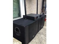 3K Pa System DJ All Peavey Equipment-Power Amplifier & 4 Speakers 2 Stands Wires Mixer PV14 as Bonus
