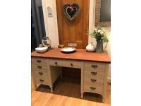 Solid wood refurbished large desk