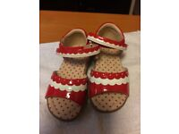 MARKS AND SPENCER RED AND WHITE GIRLS SHOES SIZE 6 FOR SALE