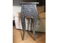 Chaandhi Silver Black Embossed Table - Table - Draws - End Table - Ornate Metal Furniture