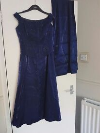 Shimmery blue prom / bridesmaid 2 piece dress. Size 12 with wrap.