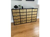 Sideboard in Brass from MADE. Lots of storage