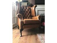 Stunning light tan leather Chesterfield armchair on Queen Anne legs