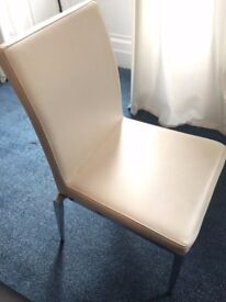 8 White Faux Leather and Chrome Dining Chairs Used