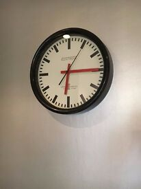Mondaine Style Swiss Railway Clock. Excellent condition! (30cm diameter) In box!