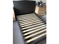 Dark Brown Bed Frame with free double mattress - Great condition