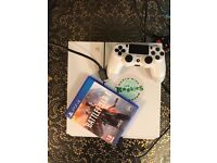White 500GB PS4/Playstation 4 with Battlefield 1 and controller