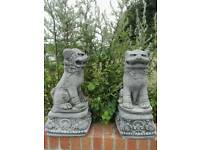 PAIR CHINESE FOO DOGS ON PLINTH STONE ORNAMENT GARDEN
