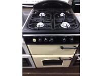 Cream & black leisure 60cm gas cooker grill & double ovens good condition with guarantee