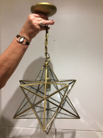 "Set of Three 12"" Star Pattern Pendant Lanterns"