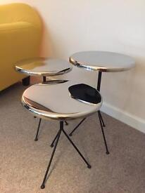 Fabulous Chrome Round Side Table - Set of Three