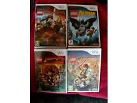 Lego Lord of the Rings, Batman, Indiana Jones 1 and 2, and Star Wars for Nintendo Wii