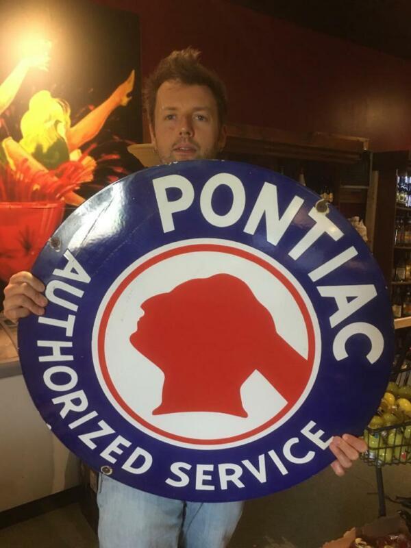 pontiac gas tire beer motor gasoline oil dealer porcelain sign MAKE AN OFFER!