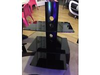 Black Glass Floating TV Wall Mount Shelf (Excellent Condition)