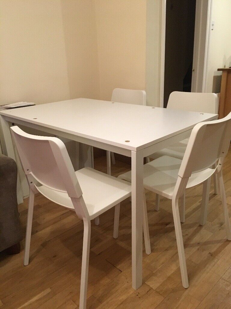 White kitchen table and four chairs for sale   in Reigate ...