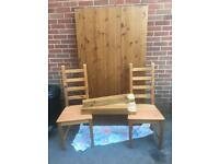 Solid oak ikea table and six chairs