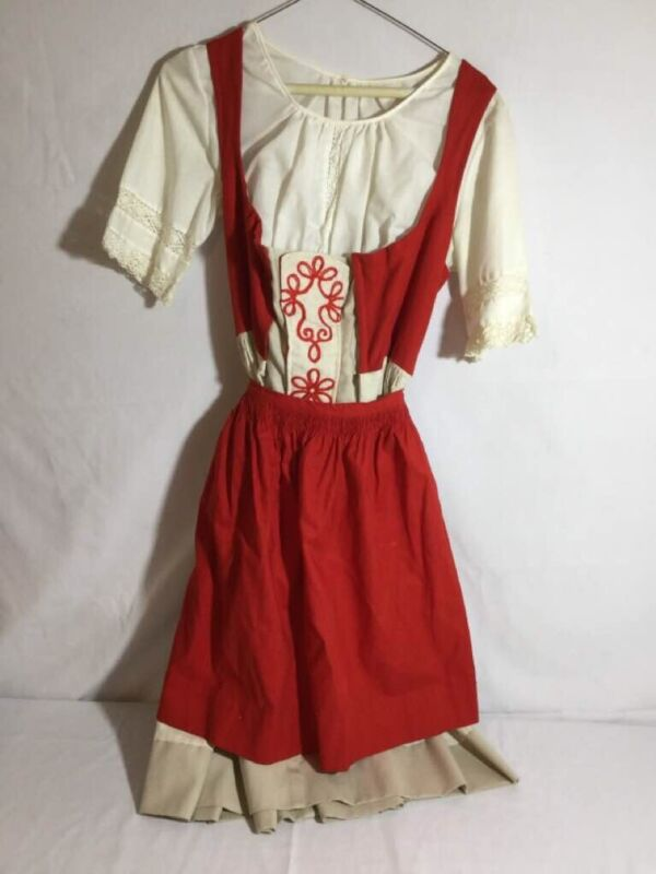 Vtg Dirndl Dress Blouse Apron Octoberfest 44 L 10 Embroidered Cream Red Complete