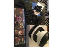 PLAYSTATION VR HEADSET, with controllers, camera, and 5 games.